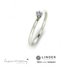 Verlobungsring mit Kronenfassung in Silber oder Gold