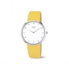Sommerliche Damenuhr mit gelbem Lederband