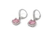 Set Anhänger und Ohrringe mit rosa Stein