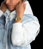 Trendige goldfarbene Damenuhr mit Digitalanzeige